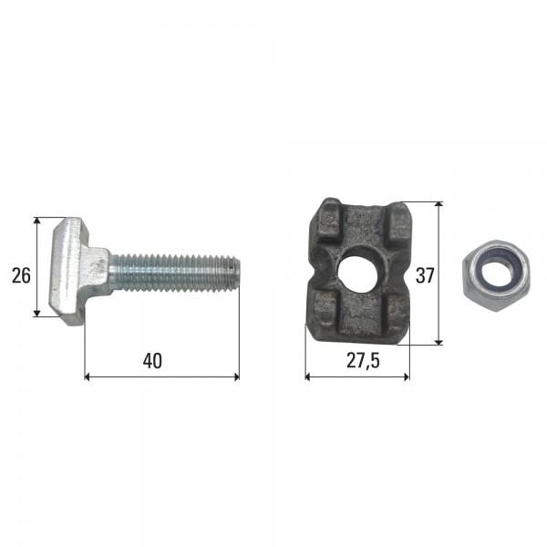 Steckschraubengarnitur M10x40 passend zu Kratzbodenkette 10x31, 10x35, 10x38, 11x31, 11x35