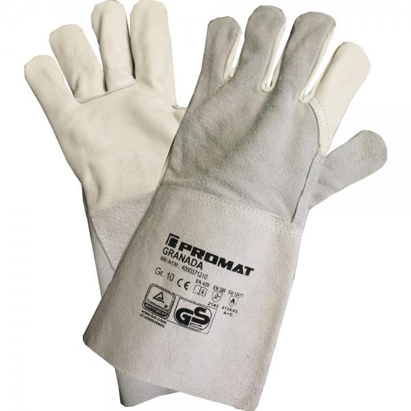 Schweißerhandschuhe Granada Größe 10 grau Rindnarben-/Spaltleder EN 388, EN 12477 Kategorie II