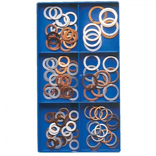 Kupfer-/Alu-Dichtring-Sortiment, 100 Teile