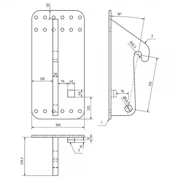 Konsole JCB / Volvo, LA=312mm, 1 Paar