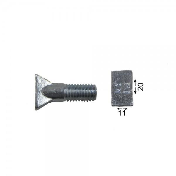 Fingerschraube/Schuhschraube M10x35 Vierkantkopf 20x11mm, ohne Mutter