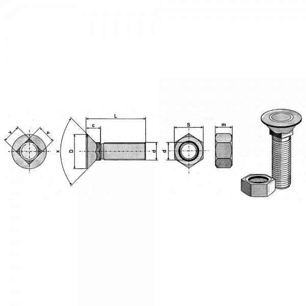 Scharschraube mit Vierkantansatz, DIN 608